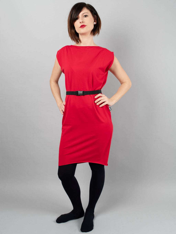 Úpletové šaty krátký rukáv průstřihy červená