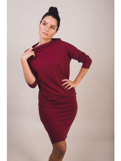 Úpletové šaty dlouhý rukáv stojáček bordó