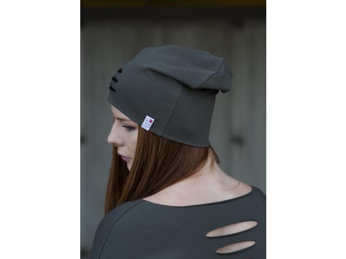 Čepice úplet průstřihy khaki/černá