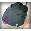 Čepice úplet průstřihy šedý melír/růžová