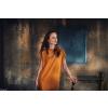 Úpletové šaty MUSTARD/HOŘČICOVÉ krátký rukáv průstřihy