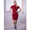 Úpletové šaty bordó krátký rukáv stojáček